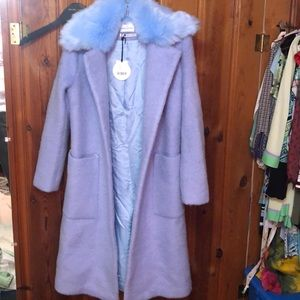 Urban outfitters baby blue wool coat